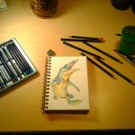 My little work station for the sketch, i used Inktense pencils.